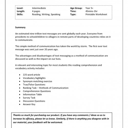 Reading and Vocab Worksheet Brief History of Text – Reading Summary Worksheet