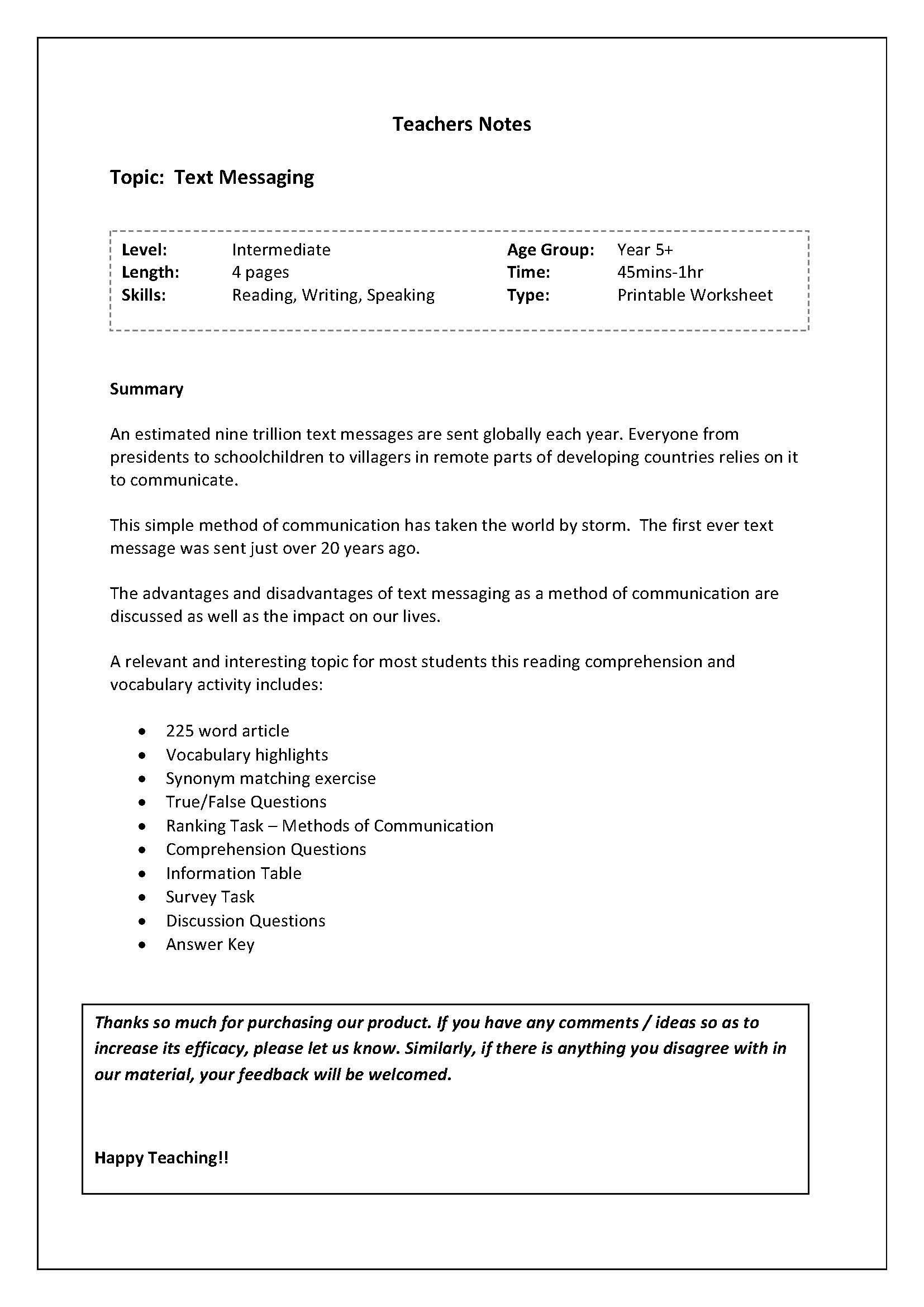Worksheets Reading Comprehension Vocabulary Worksheets reading and vocab worksheet brief history of text messagingenglish a messaging a3 00 this comprehension vocabulary worksheet