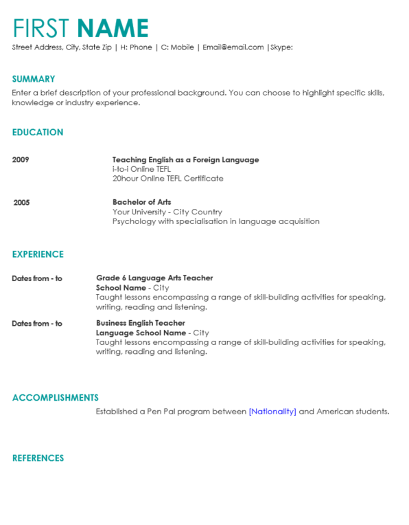 cv template blue english jobs turkeyenglish jobs turkey